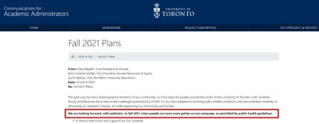 UTM官宣线下授课!加拿大留学生返校信息来了!