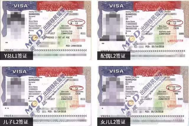 Y女士的L-1签证及家属的L-2签证