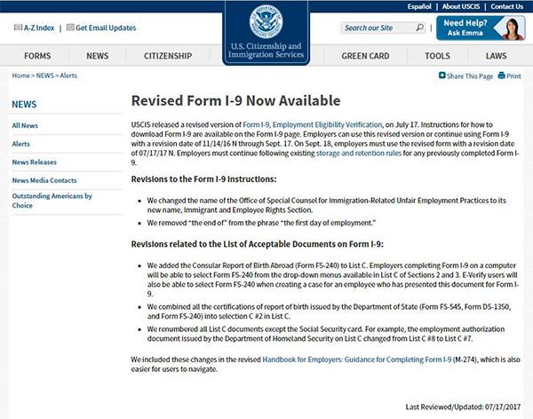 新版就业资格审查表I-9公布!9月18日开始全面启用
