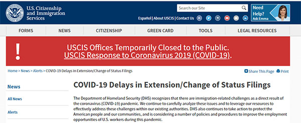 美国移民局:疫情期间,商务旅游等非移民签证可申请延期