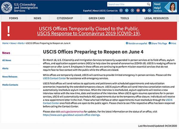美国移民局计划6月4日开门
