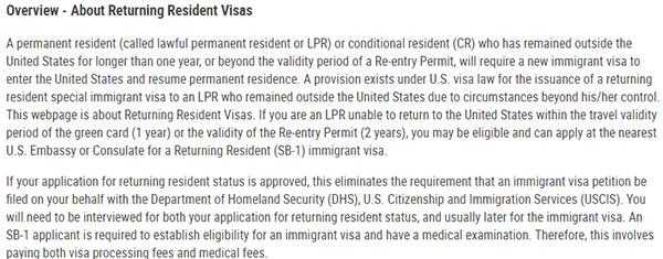 绿卡持有者因疫情回不去美国,可以办理SB1签证吗?